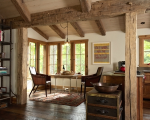 Big wood timber frames floors for Dining room jockey hollow