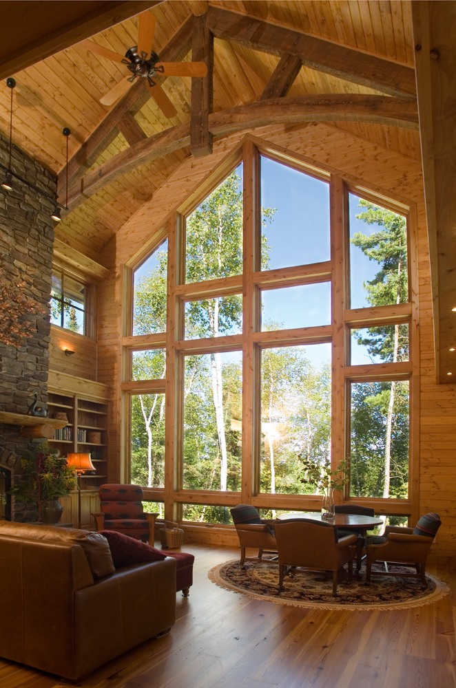 Eli retreat big wood timber frames - House with big windows ...