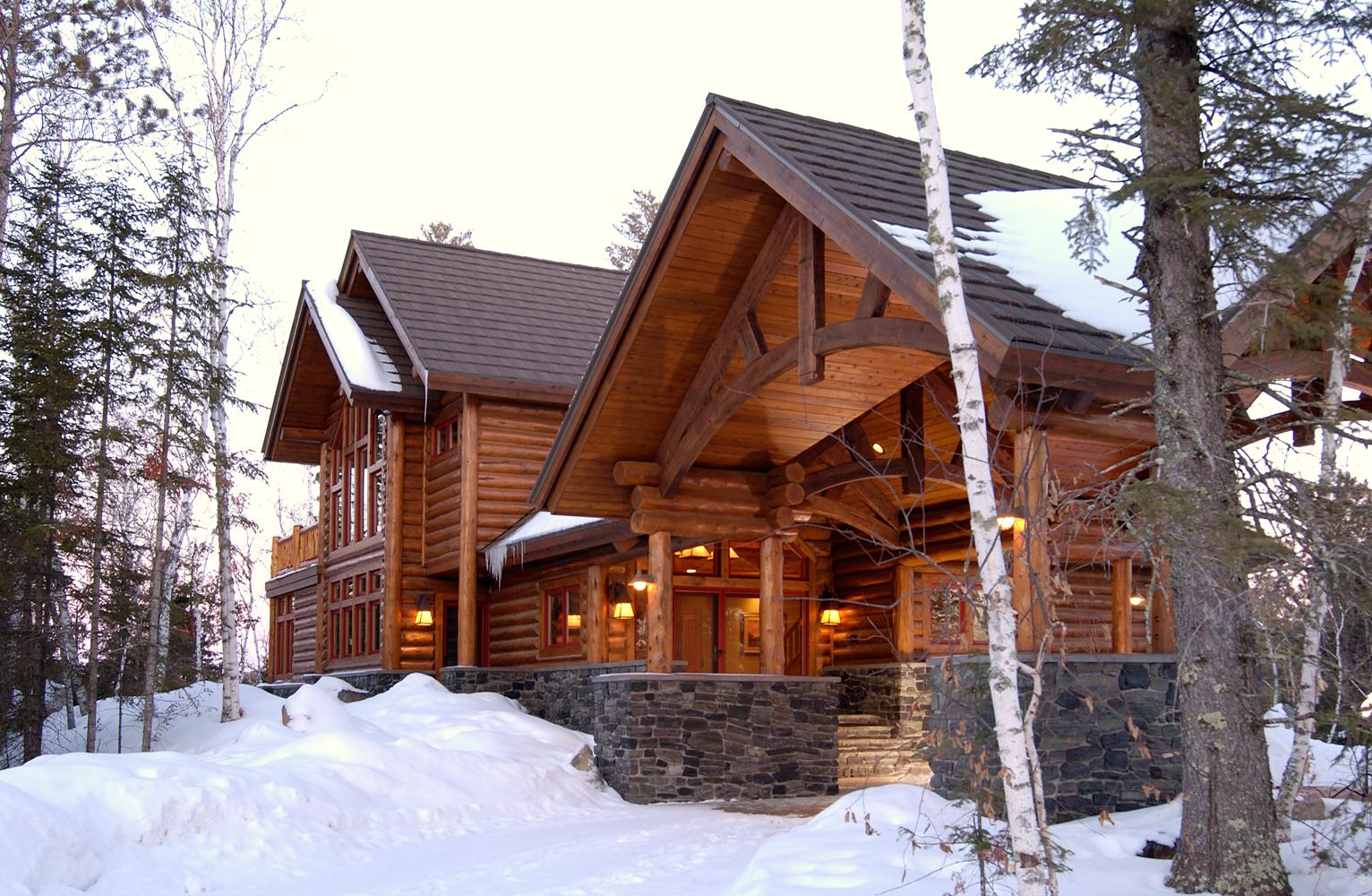 Big wood timber frames eli retreat for Cabin builders alaska